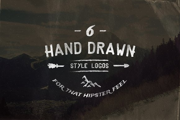 Vintage hand drawn style logos logo templates creative market