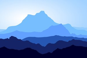 Huge Blue Mountains Vector Set