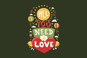 All You need is Love Vintage Quote