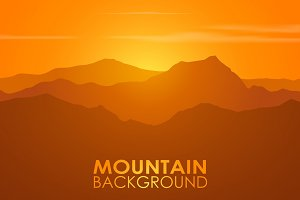Mountain range over sunset. Vector.