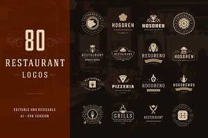 80 Restaurant Logotypes and Badges