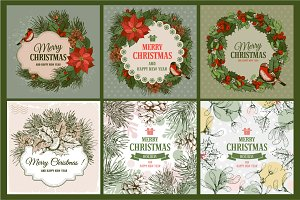 Christmas vintage cards set