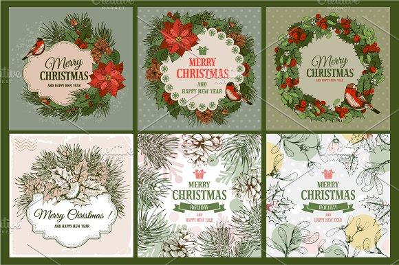 Christmas vintage cards set