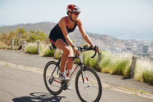Woman cyclist practicing