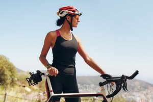 Determined female cyclist