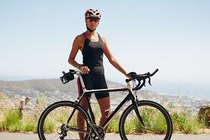 Confident female cyclist