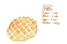 Watercolor waffles recipe in vector