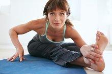 Woman performing yoga poses