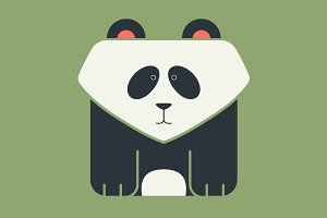 Flat square icon of a giant panda