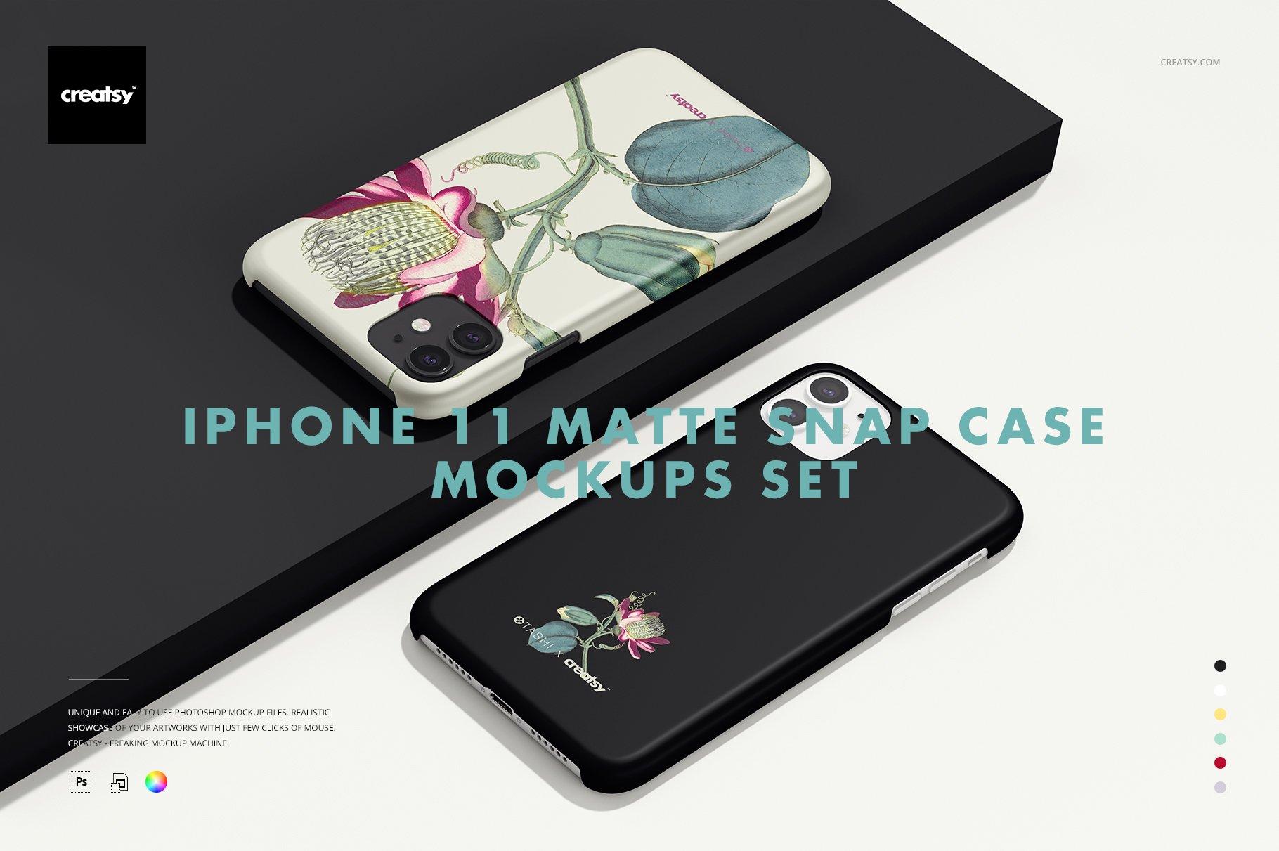 Iphone 11 Matte Snap Case Mockup Set Creative Photoshop Templates Creative Market