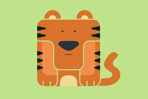Flat square icon of a cute tiger