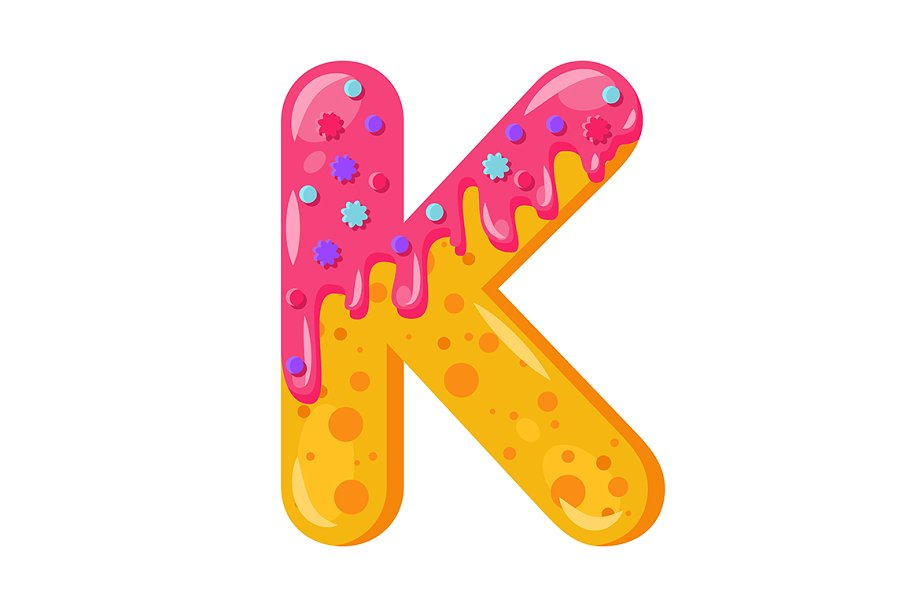 Donut cartoon K letter illustration