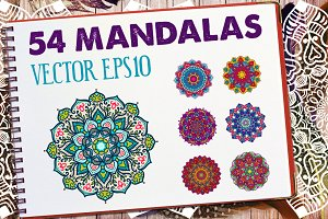 54 Vector Mandalas - Big Collection
