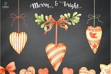 Shabby Christmas Clipart Set