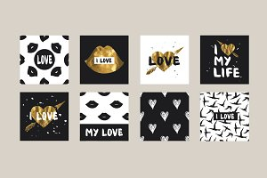 Set of 16 cards - Love Hipster Print