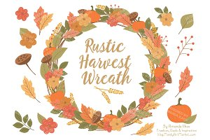 Fall Harvest Wreath Vectors