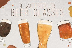 Watercolor Beer Glasses