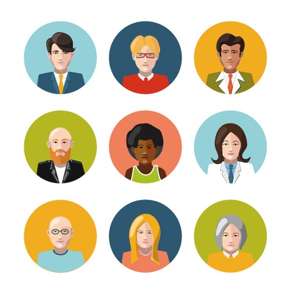 Set of nine user's flat avatars