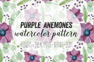 Purple Anemones Watercolor Pattern