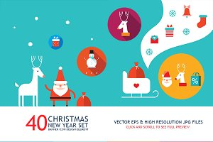 40 New Year & Christmas banners set