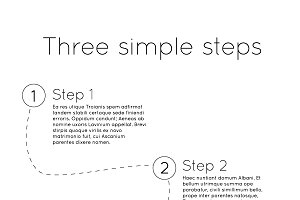 Three steps template with pencil