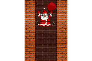 Falling Santa Claus in the chimney