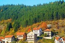 View of Serbian mountain village