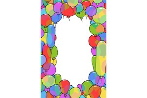 Frame from balloons cartoon backgrou