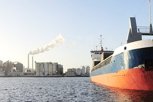 Tanker and power plant in Amsterdam