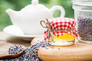 Honey, lavender tea and teapot