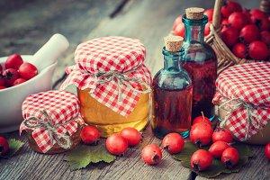 Honey, tincture and hawthorn berries
