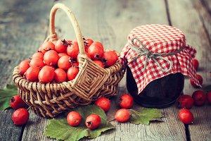 Jar of jam and hawthorn berries