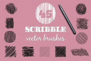 Vector scribble brushes set