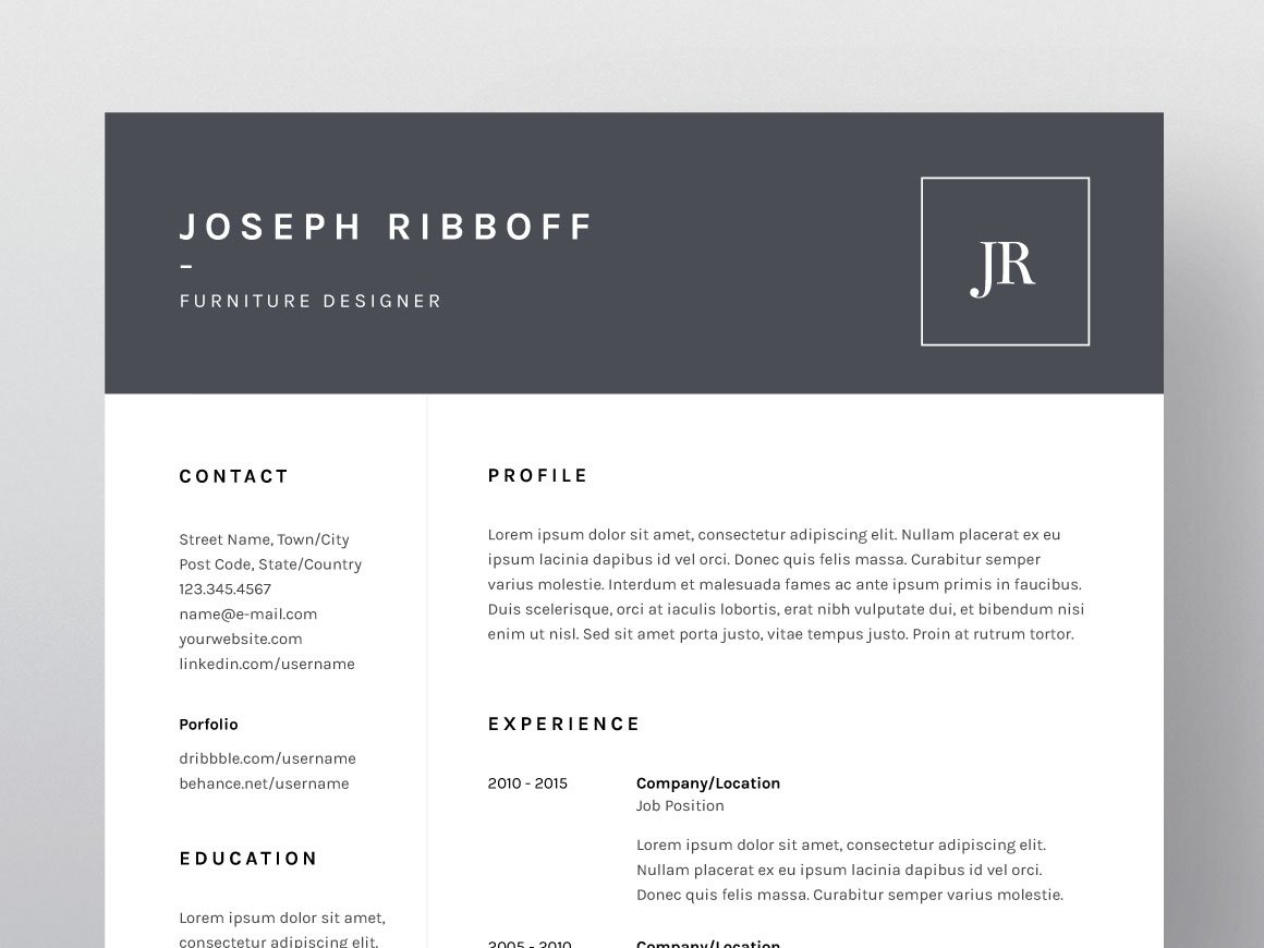joseph ribboff resume cv template resume templates creative market
