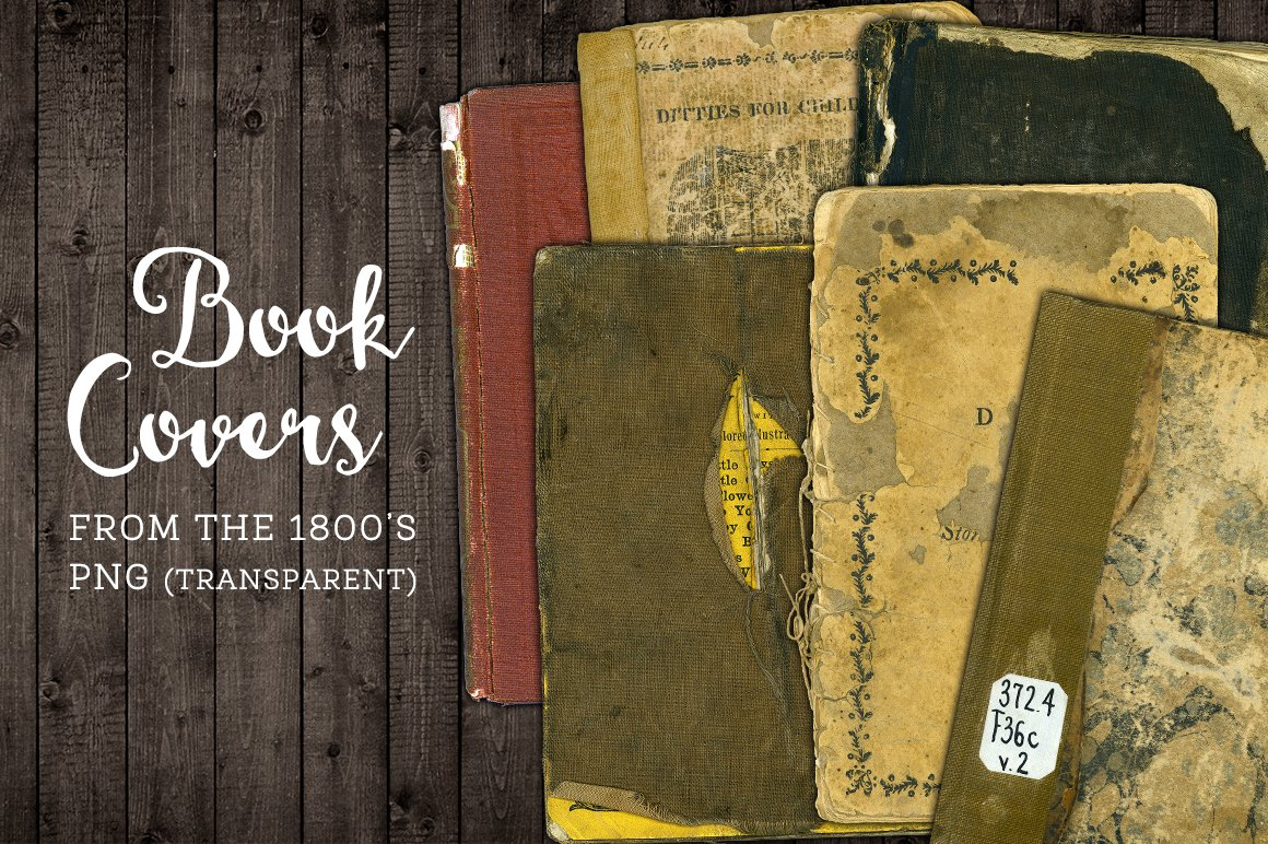 Worn Book Cover Photo Tutorial ~ Worn book cover png graphics set textures creative market