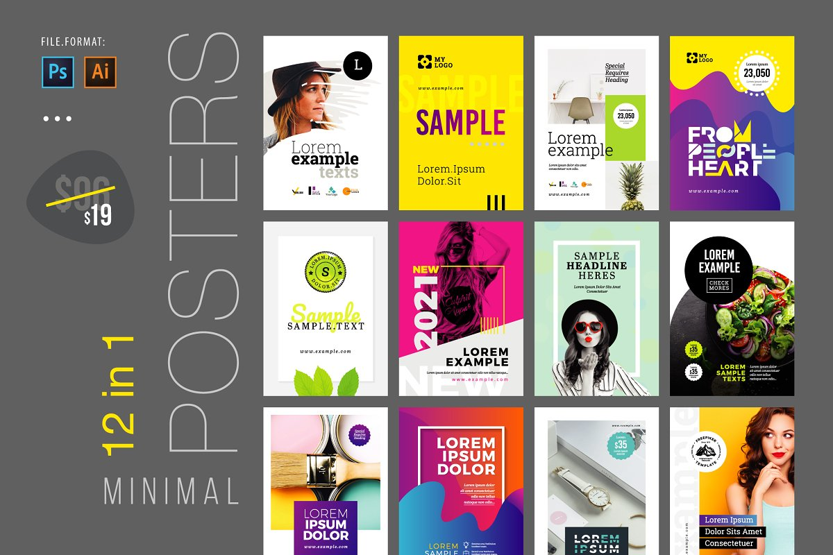 12 Minimal Posters Pack v2