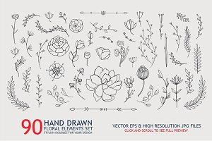 90 hand drawn floral elements set