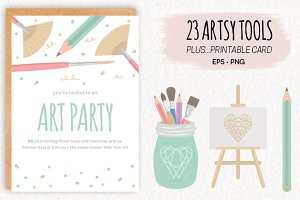 23 Artsy Tools Cliparts with Card
