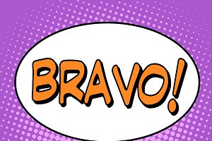 The word Bravo in a comic bubble