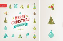 Christmas retro icons
