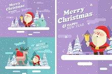 Merry christmas. Santa and Deer