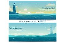 Blue sea banners