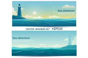 Blue sea banners