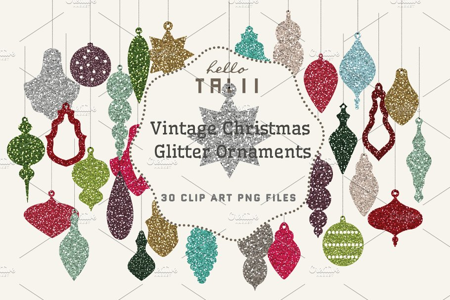 Xmas Glitter Ornaments Clipart