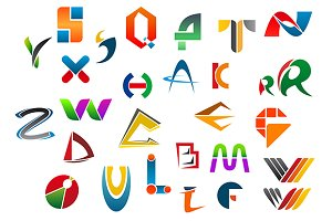 Set of alphabet symbols from A to Z