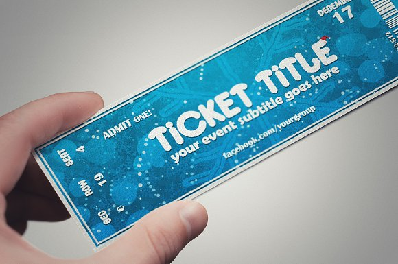 blue christmas ticket template card templates creative market