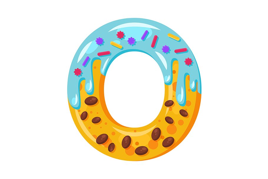 Donut cartoon O letter illustration