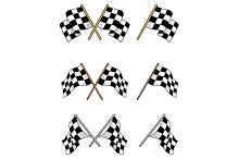 Set of racing checkered flags