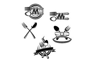 Restaurant menu symbols and embellis