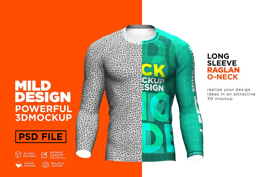 Raglan T Shirt 3d Mockup Long Creative Product Mockups